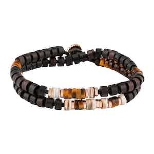 Large Ebony-Brown Wood, Silver and Tiger Eye Bracelet
