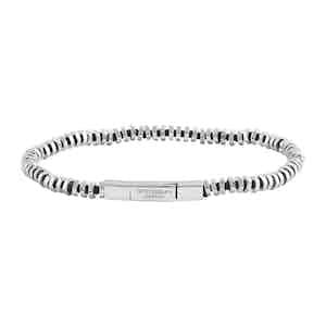 Silver Rhodium and Black Thread Bracelet