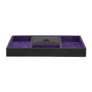 Black and Purple Pebbled Leather Valet Tray