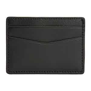 Black Pebbled Leather Blake Card Holder