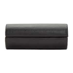 Black Leather Howard 2-Piece Cufflink Box