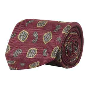 Roland Burgundy, Yellow and Navy Medallion Made-to-Order Silk Tie