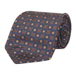 Rupert Navy Spots and Diamonds Made-to-Order Silk Tie