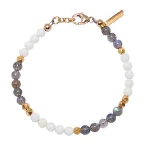 White Coral and Labradorite Capri Collection Women's Beaded Bracelet