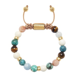 Bali Turquoise, White Coral, Brown Tiger Eye and Pink Adventurine Beaded Bracelet