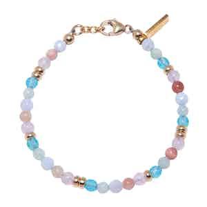 Amethyst Lavender, Blue Lace Agate, Cherry Quartz and Aquamarine Beaded Bracelet