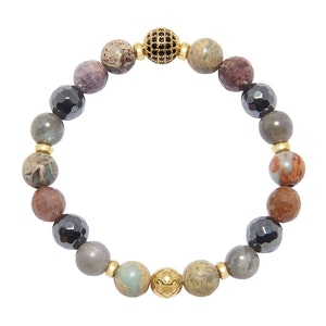 Hematite, Opal, Labradorite and Ruby Women's Wristband