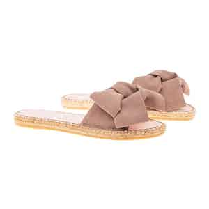 Taupe Suede Flat Hamptons Sandals with Floppy Bow