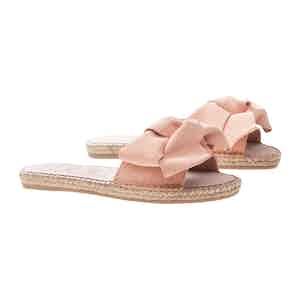 Pastel Rose Suede Flat Hamptons Sandals with Floppy Bow