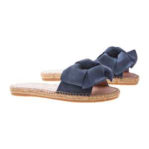 Denim Suede Flat Hamptons Sandals with Floppy Bow