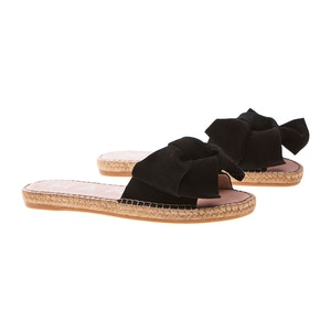 Black Suede Flat Hamptons Sandals with Floppy Bow