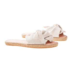 Cream Canvas Flat Yucatan Sandals with Knot