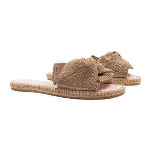 Beige Canvas Flat Yucatan Sandals with Knot