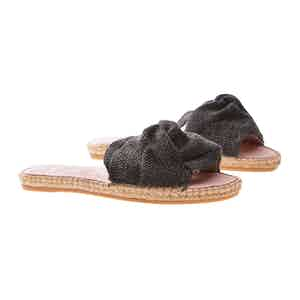 Black Canvas Flat Yucatan Sandals with Knot