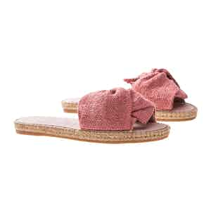 Rose Canvas Flat Yucatan Sandals with Knot