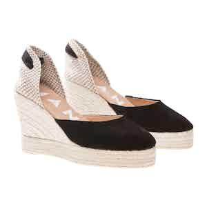 Black Suede Hamptons Wedge Sandals