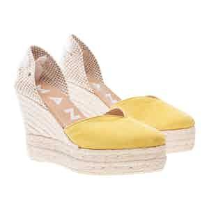 Yellow Suede Hamptons Wedge Sandals