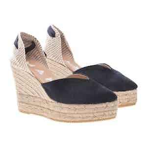 Blue Suede Hamptons Wedge Sandals