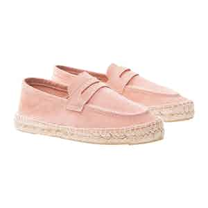 Rose Pink Suede Hamptons Loafers