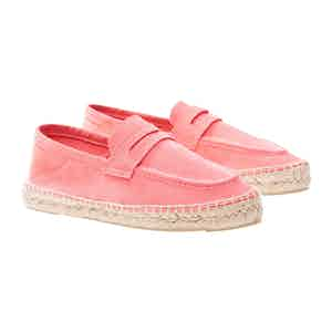 Paradise Pink Suede Hamptons Loafers
