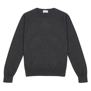 Charcoal Grey Round-Neck Cashmere Sweater