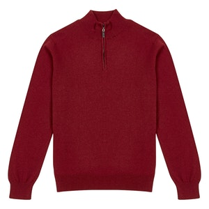 Deep Red Cashmere Zipped-Collar Sweater