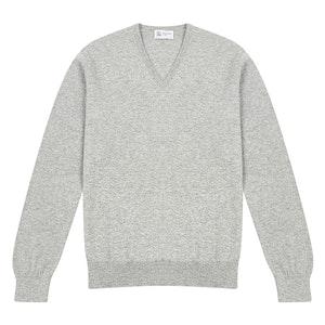 Light Grey V-Neck Cashmere Sweater