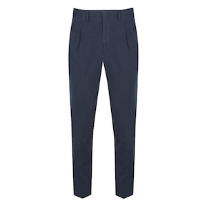 Navy Pleated Cotton Trousers