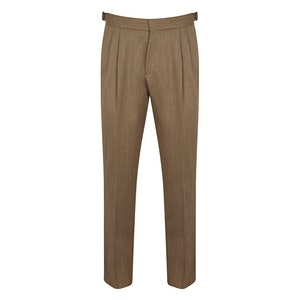 Brown Pleated Wool Trousers