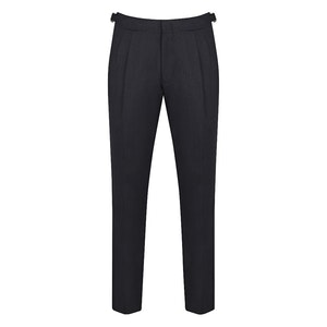 Navy Pleated Wool Trousers