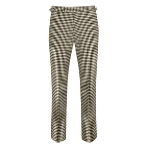 Cream and Grey Shepherds Check Flat-Front Wool Caine Trousers