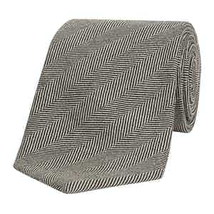 Black Herringbone Weave Wool Tie