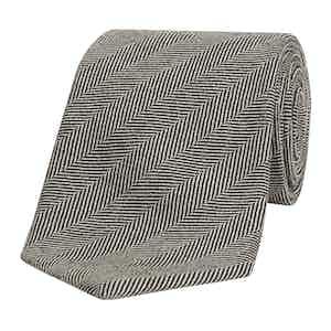 Black Herringbone Weave Wool Tie