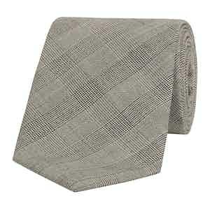 Black Micro-Check Wool Tie