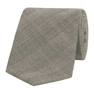 Black Micro-Check Wool Tie