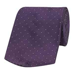 Purple Pin Dot Patterned Silk Tie