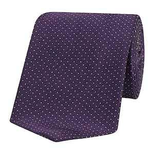 Purple Micro Pin Dot Patterned Silk Tie