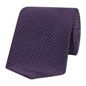 Purple Micro Pin Dot Patterned Silk Tie