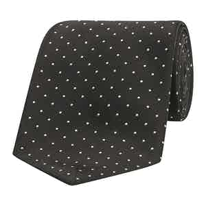Black Dot Pattern Silk-Satin Tie