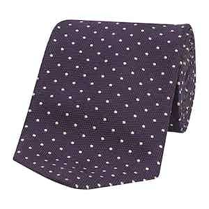 Purple Dot Pattern Honeycomb Silk Tie