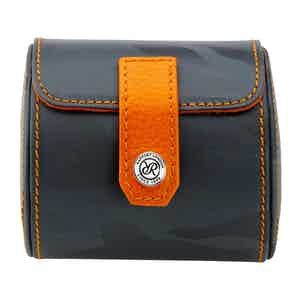 Blue and Orange Leather Single Watch-Roll