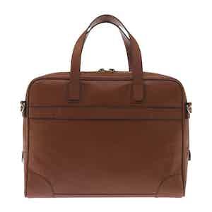 Tan Brown Fine-Grain Leather Laptop Briefcase