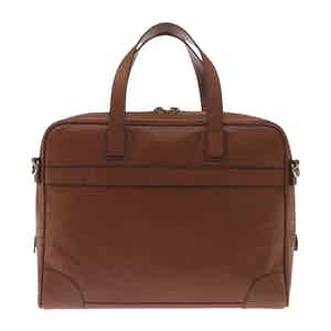 Tan Brown Fine-Grain Leather Laptop Briefcase