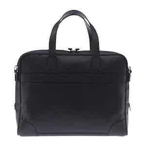 Black Fine-Grain Leather Laptop Briefcase