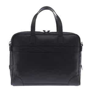 Black Fine-Grain Leather Laptop Briefcase