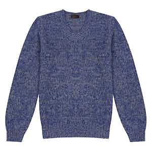 Blue Wool Single-Knit V-Neck Sweater