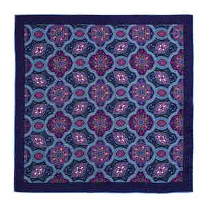 Blue and Pink Paisley Silk Pocket Square