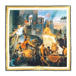 Cream Entrance of Alexander into Babylon-Print Silk Pocket Square