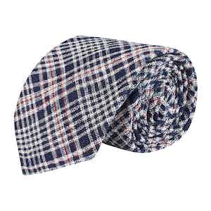 Blue Check Wool-Silk-Linen Blend Tie