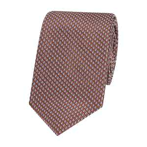 Navy and Brown Patterned Silk Tie